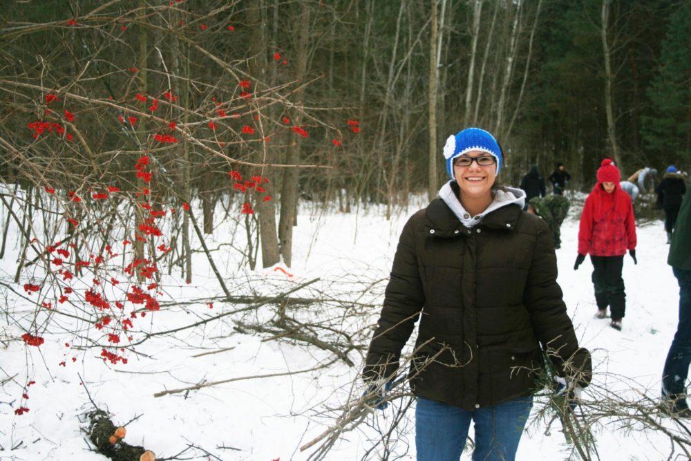 volunteering outside in the winter