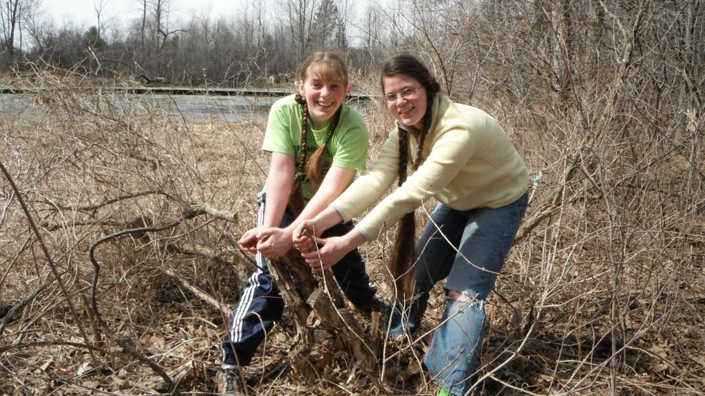 Cornerstone students pull honeysucklet out along the blue heron trail