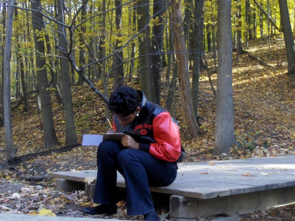 Journaling in the woods