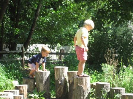 kids playing on logs in nature