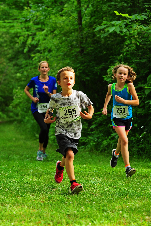 mom and kids running