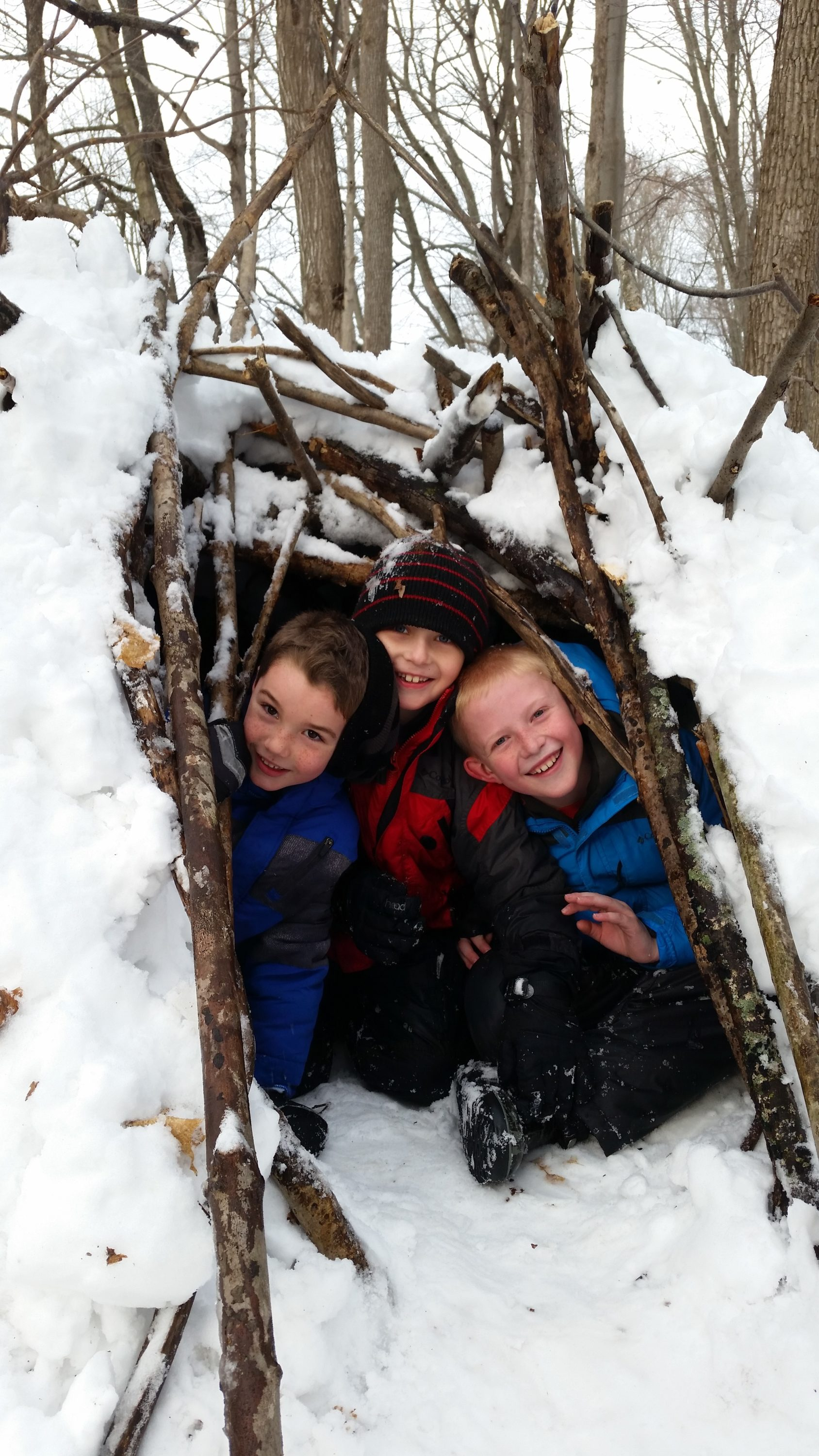 children playing in snow at BNC