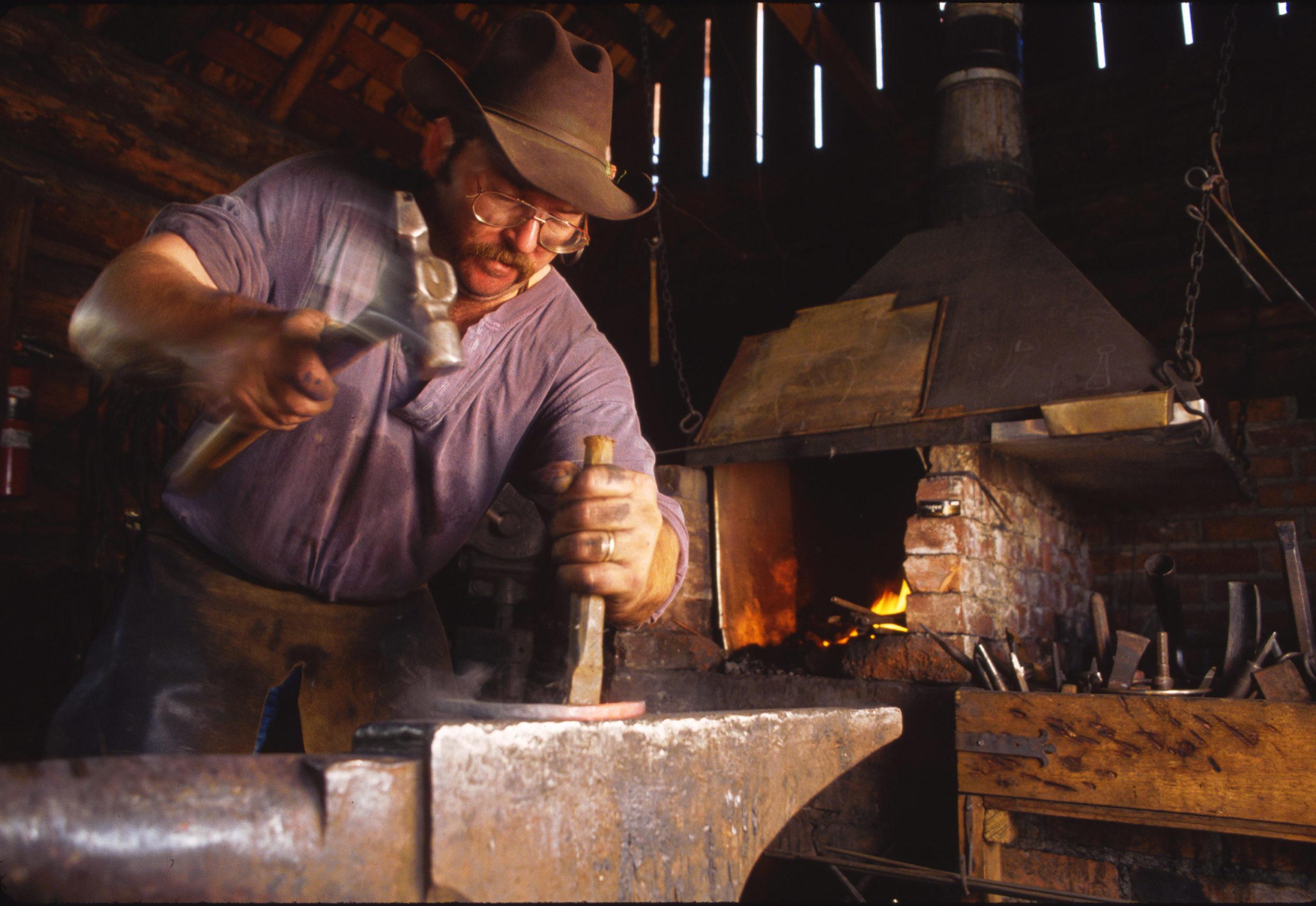 Blacksmithing at Hat River Ranch
